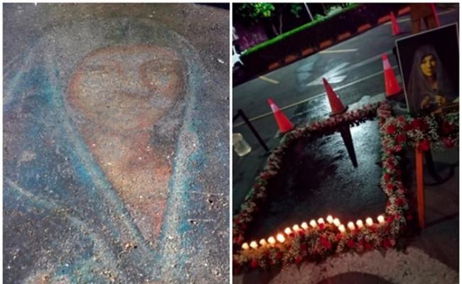 圣母玛利亚显灵?墨西哥瓜达卢佩一幅13年前以粉笔绘画的圣母玛利亚像突然再次出现