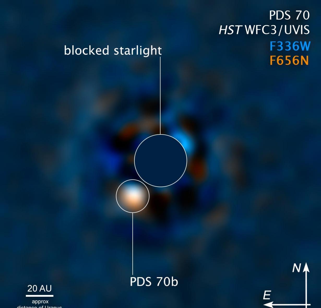 哈勃望远镜观察到遥远太阳系PDS 70正处于形成过程的巨大系外行星